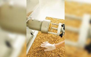 Pâtes sortant de la machine et tombant sur les clayettes