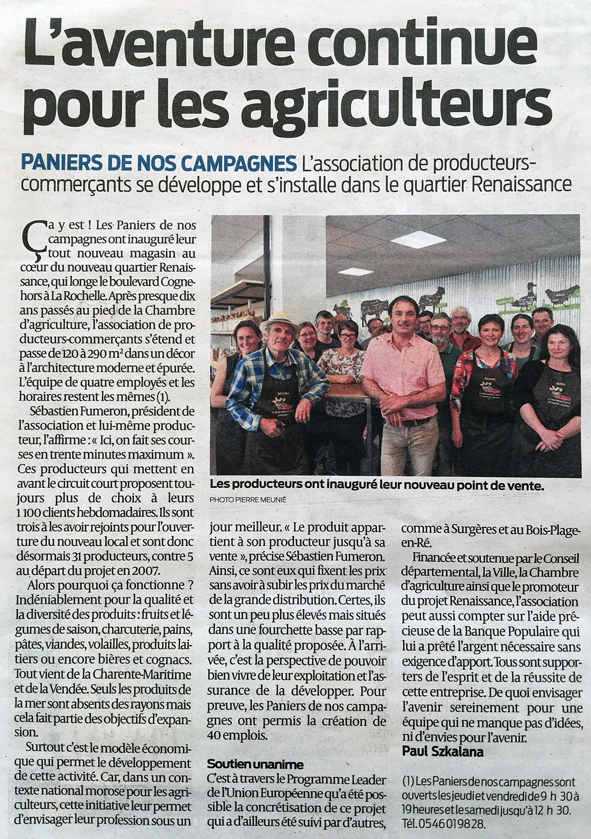 Sud Ouest article du 20 avril 2018